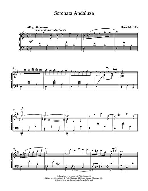 Manuel De Falla Serenata Andaluza sheet music notes and chords. Download Printable PDF.
