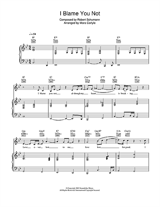 Mara Carlyle I Blame You Not sheet music notes and chords. Download Printable PDF.