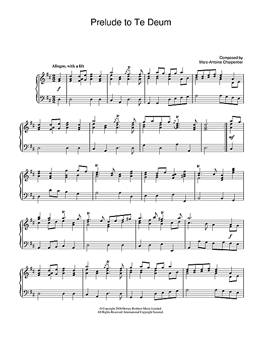 Marc-Antoine Charpentier Prelude (from Te Deum) sheet music notes and chords