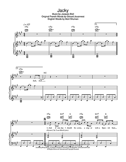 Marc Almond Jacky sheet music notes and chords