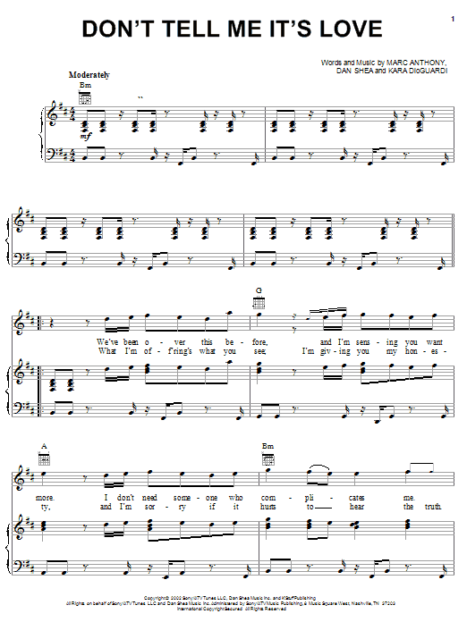 Marc Anthony Don't Tell Me It's Love sheet music notes and chords