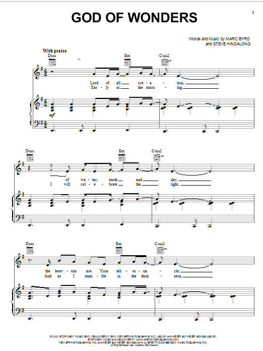 Marc Byrd God Of Wonders sheet music notes and chords. Download Printable PDF.