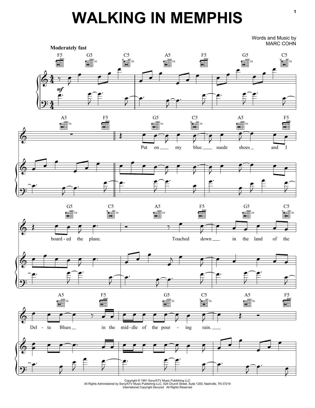 Marc Cohn Walking In Memphis sheet music notes and chords. Download Printable PDF.