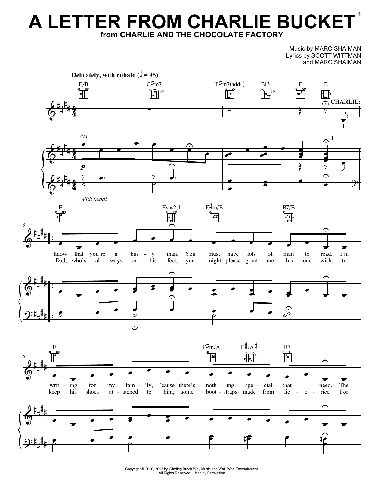 Marc Shaiman A Letter From Charlie Bucket sheet music notes and chords. Download Printable PDF.