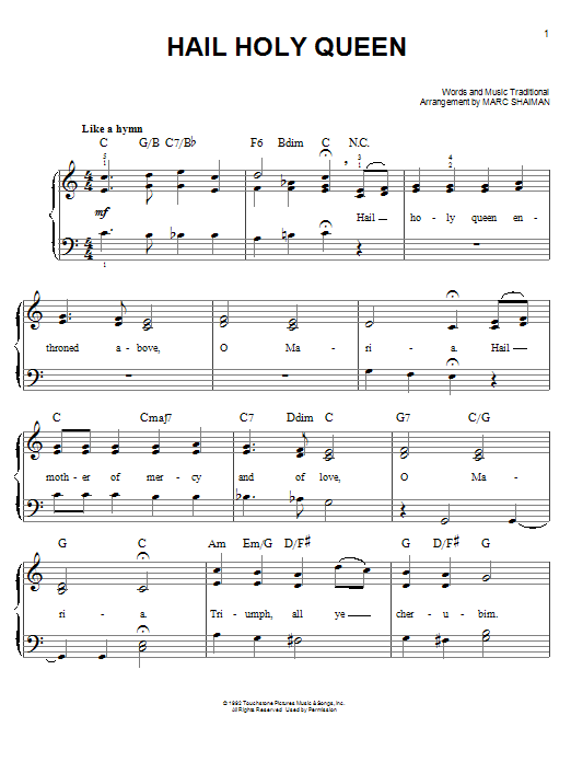 Marc Shaiman Hail Holy Queen sheet music notes and chords. Download Printable PDF.