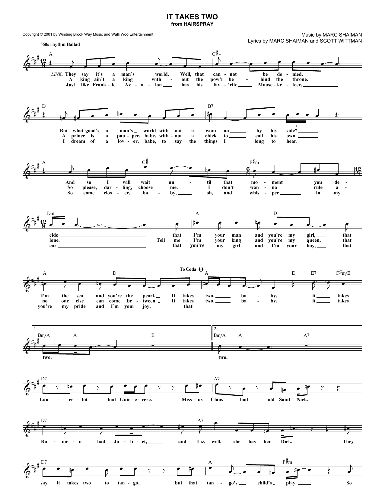 Marc Shaiman It Takes Two sheet music notes and chords. Download Printable PDF.