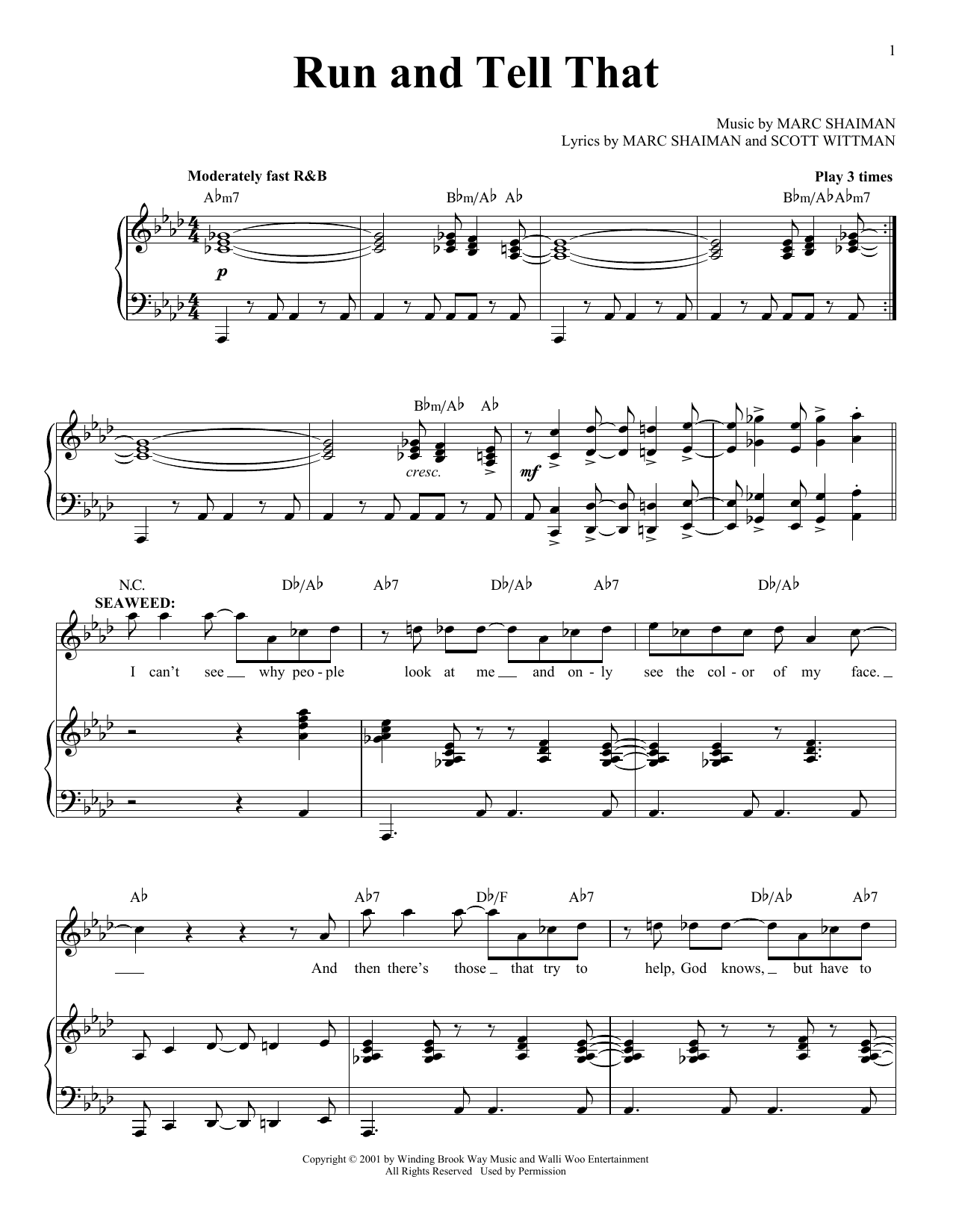 Marc Shaiman Run And Tell That sheet music notes and chords. Download Printable PDF.