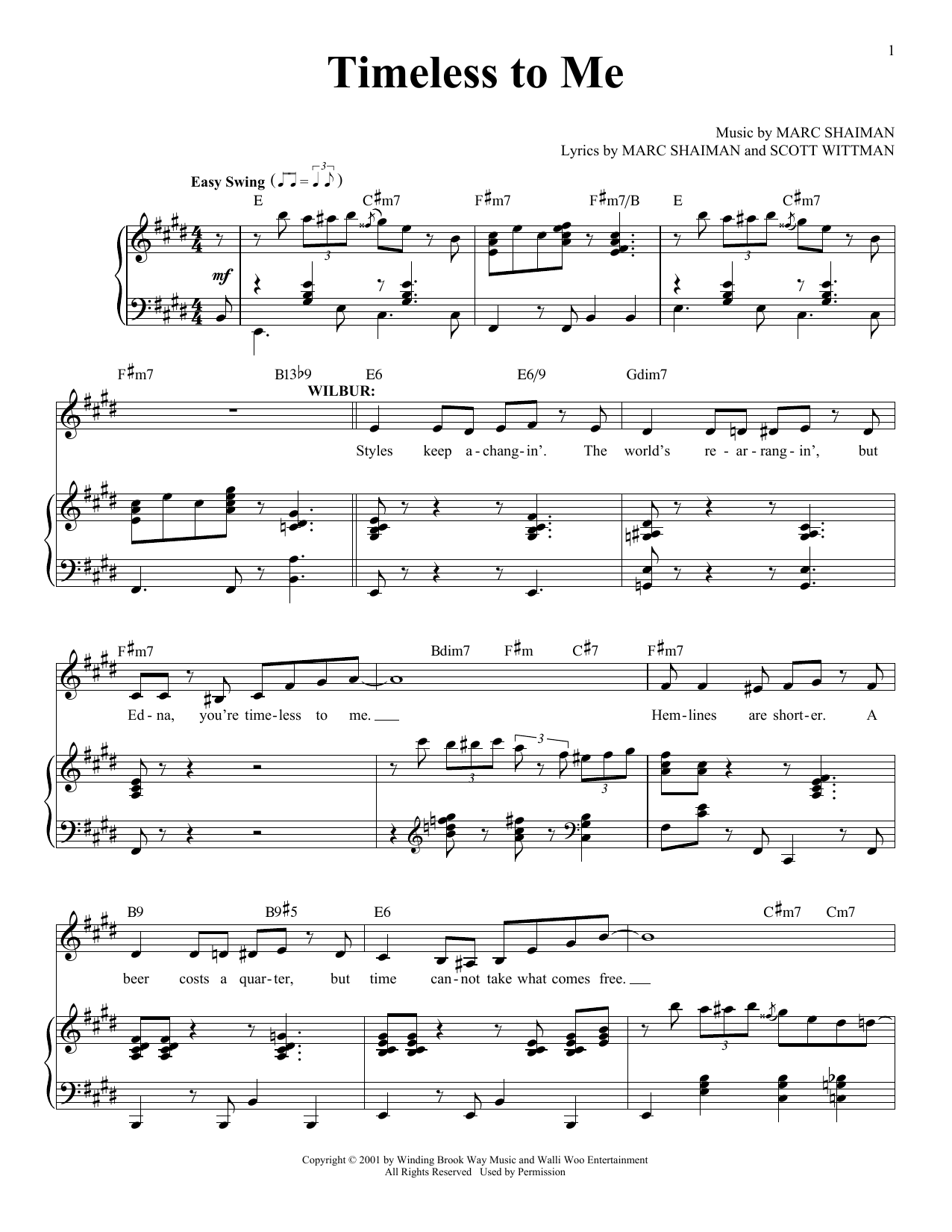 Marc Shaiman Timeless To Me sheet music notes and chords. Download Printable PDF.