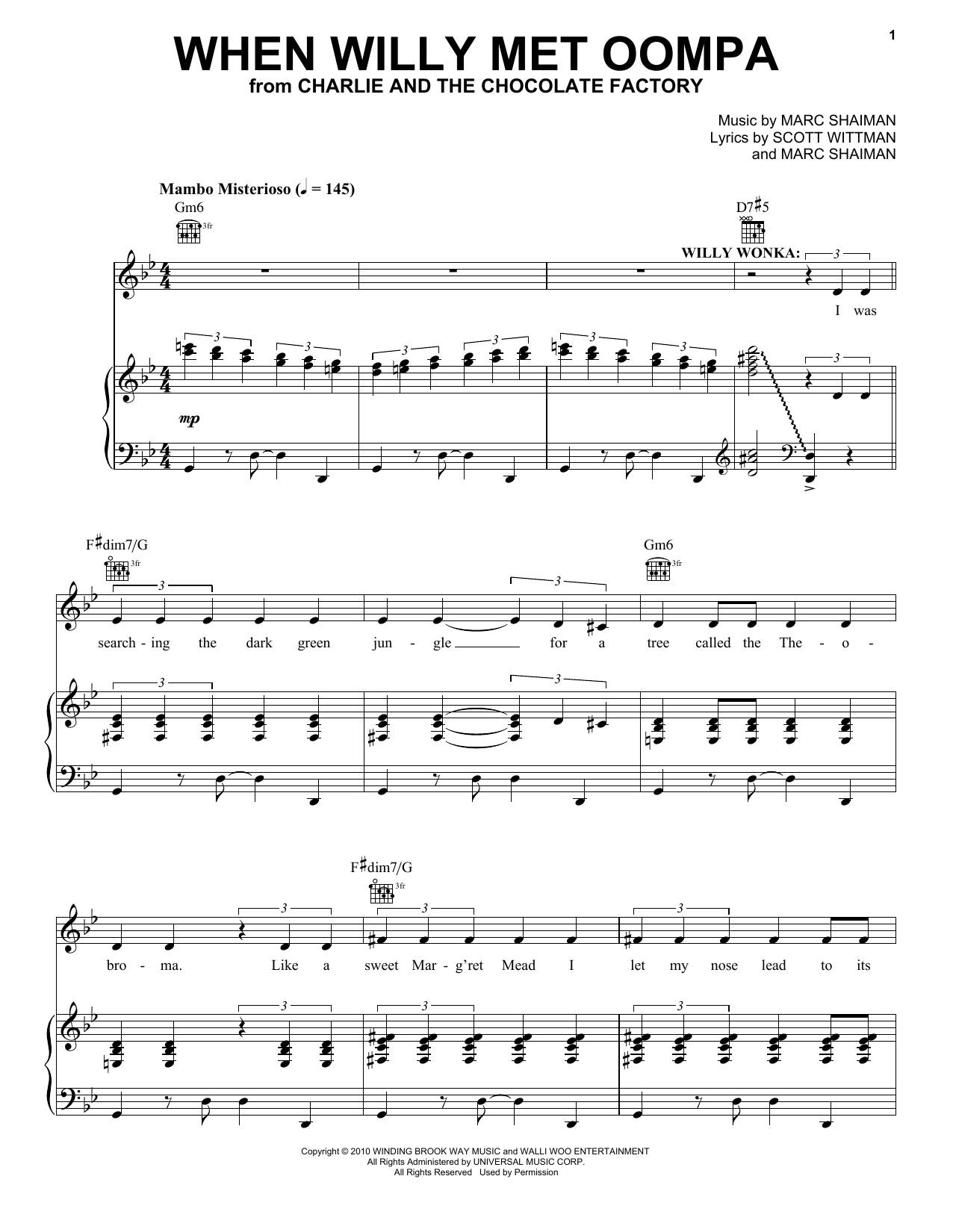 Marc Shaiman When Willy Met Oompa sheet music notes and chords. Download Printable PDF.