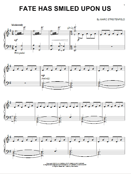 Marc Streitenfeld Fate Has Smiled Upon Us sheet music notes and chords. Download Printable PDF.