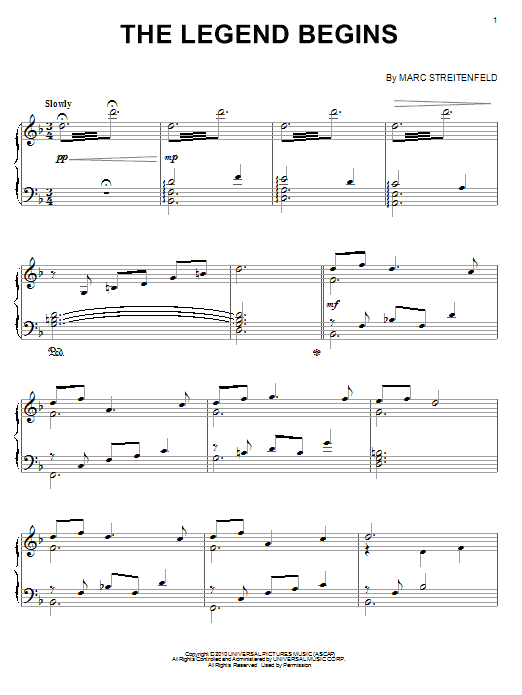 Marc Streitenfeld The Legend Begins sheet music notes and chords. Download Printable PDF.