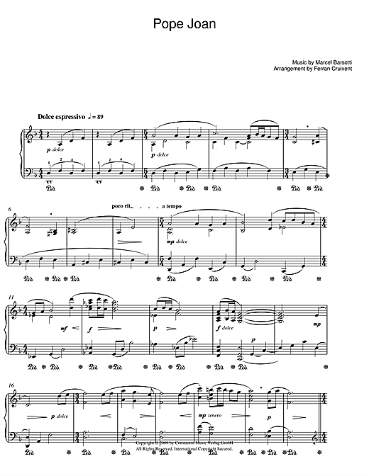 Marcel Barsotti Pope Joan sheet music notes and chords. Download Printable PDF.