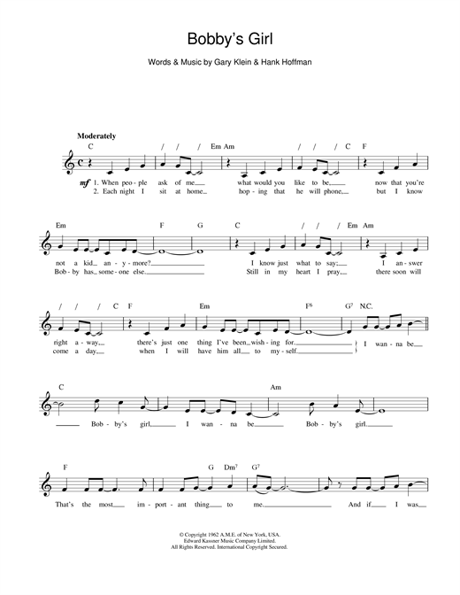 Marcie Blane Bobby's Girl sheet music notes and chords