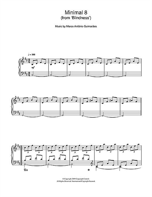 Marco Antonio Guimaraes Minimal 8 (From 'Blindness') sheet music notes and chords