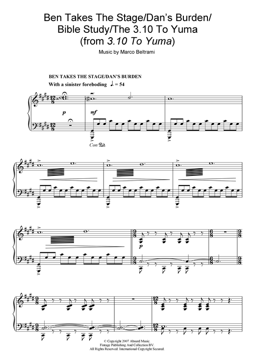 Marco Beltrami Ben Takes The Stage/Dan's Burden/Bible Study/The 3:10 To Yuma (from 3:10 To Yuma) sheet music notes and chords. Download Printable PDF.