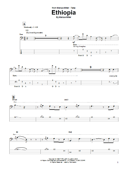 Marcus Miller Ethiopia sheet music notes and chords. Download Printable PDF.