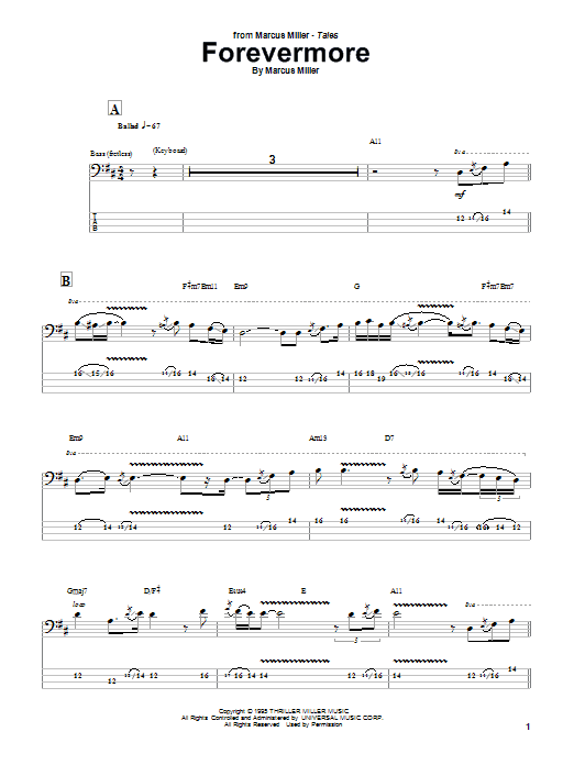 Marcus Miller Forevermore sheet music notes and chords. Download Printable PDF.