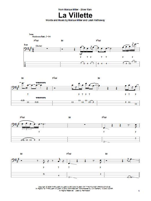 Marcus Miller La Villette sheet music notes and chords. Download Printable PDF.