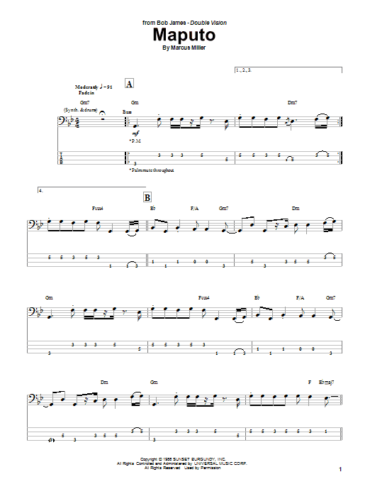 Marcus Miller Maputo sheet music notes and chords. Download Printable PDF.