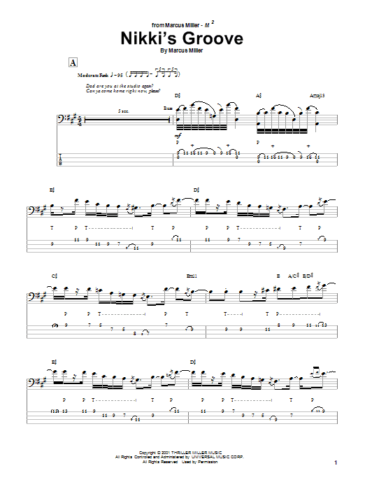 Marcus Miller Nikki's Groove sheet music notes and chords. Download Printable PDF.