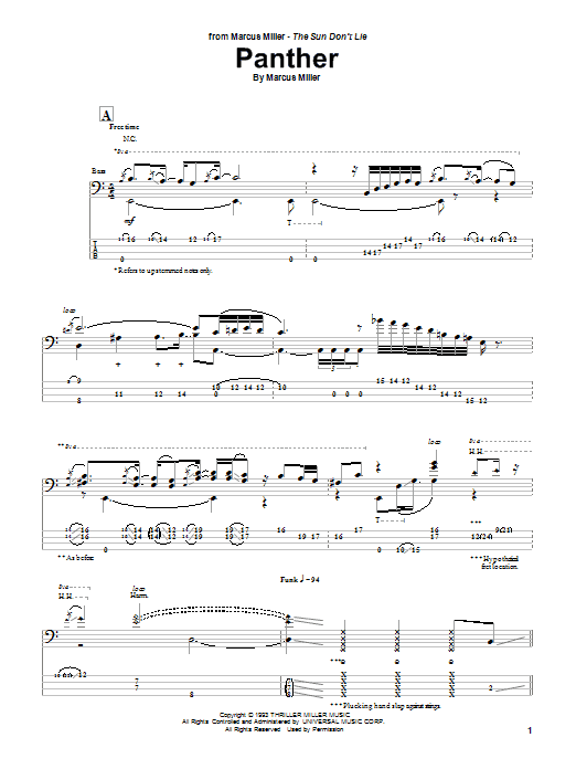 Marcus Miller Panther sheet music notes and chords. Download Printable PDF.