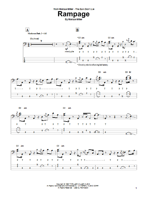 Marcus Miller Rampage sheet music notes and chords. Download Printable PDF.