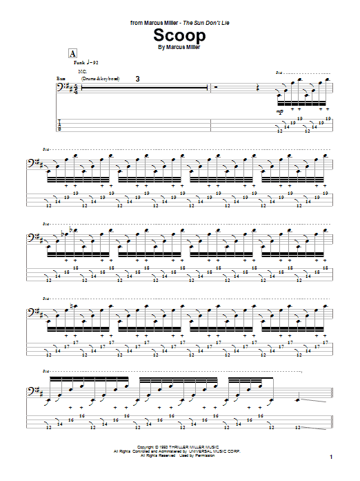 Marcus Miller Scoop sheet music notes and chords. Download Printable PDF.