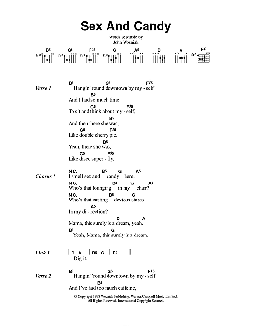 Marcy Playground Sex And Candy sheet music notes and chords. Download Printable PDF.