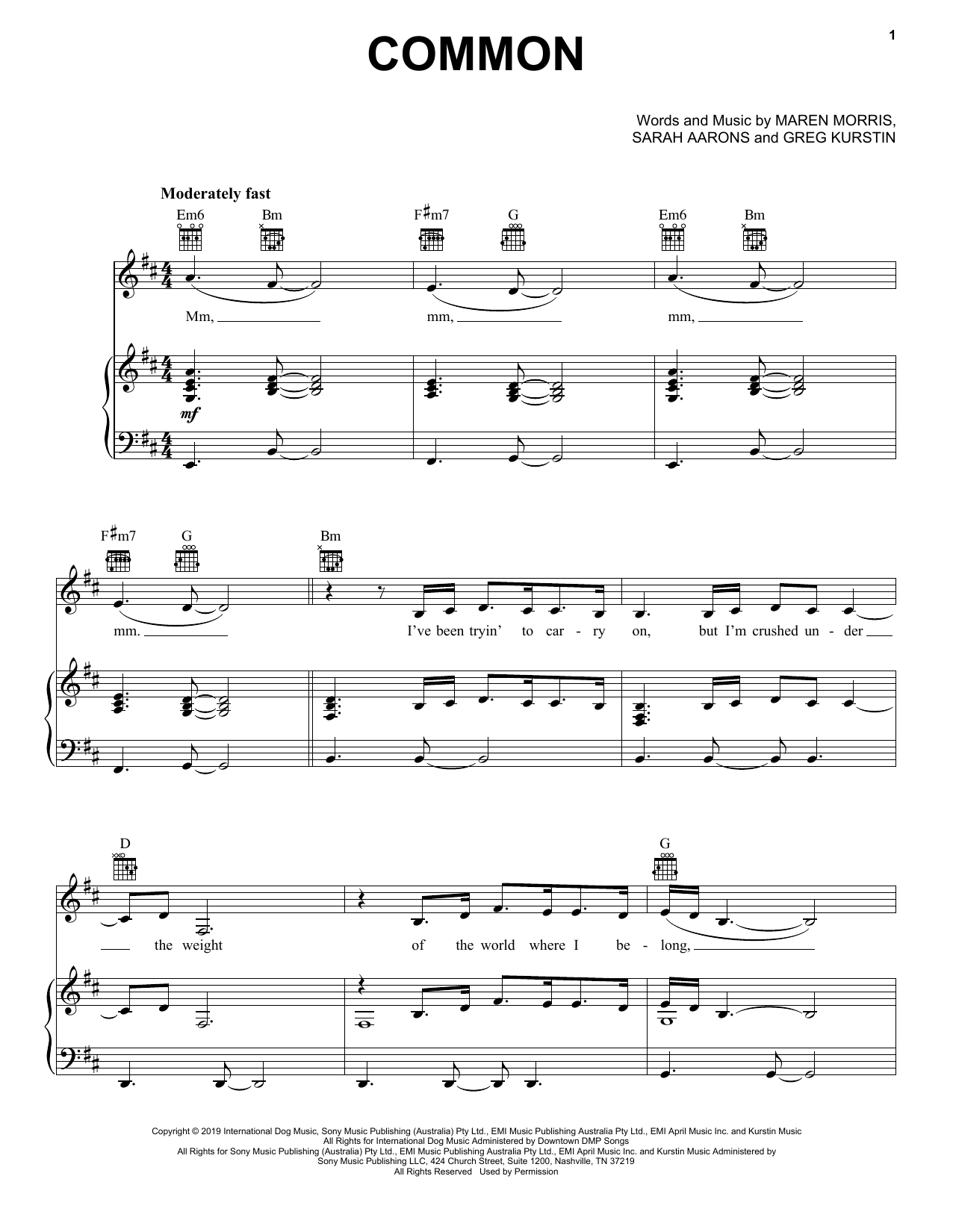 Maren Morris Common (feat. Brandi Carlile) sheet music notes and chords. Download Printable PDF.