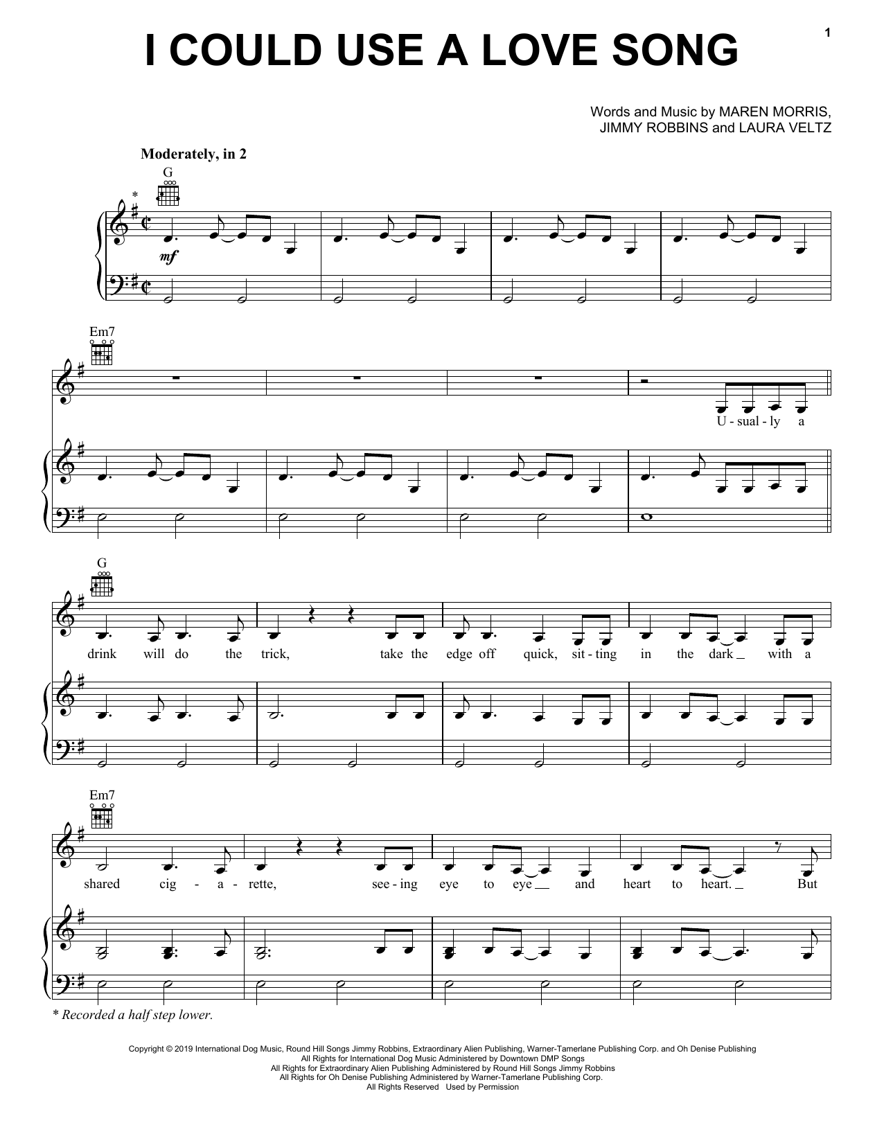 Maren Morris I Could Use A Love Song sheet music notes and chords