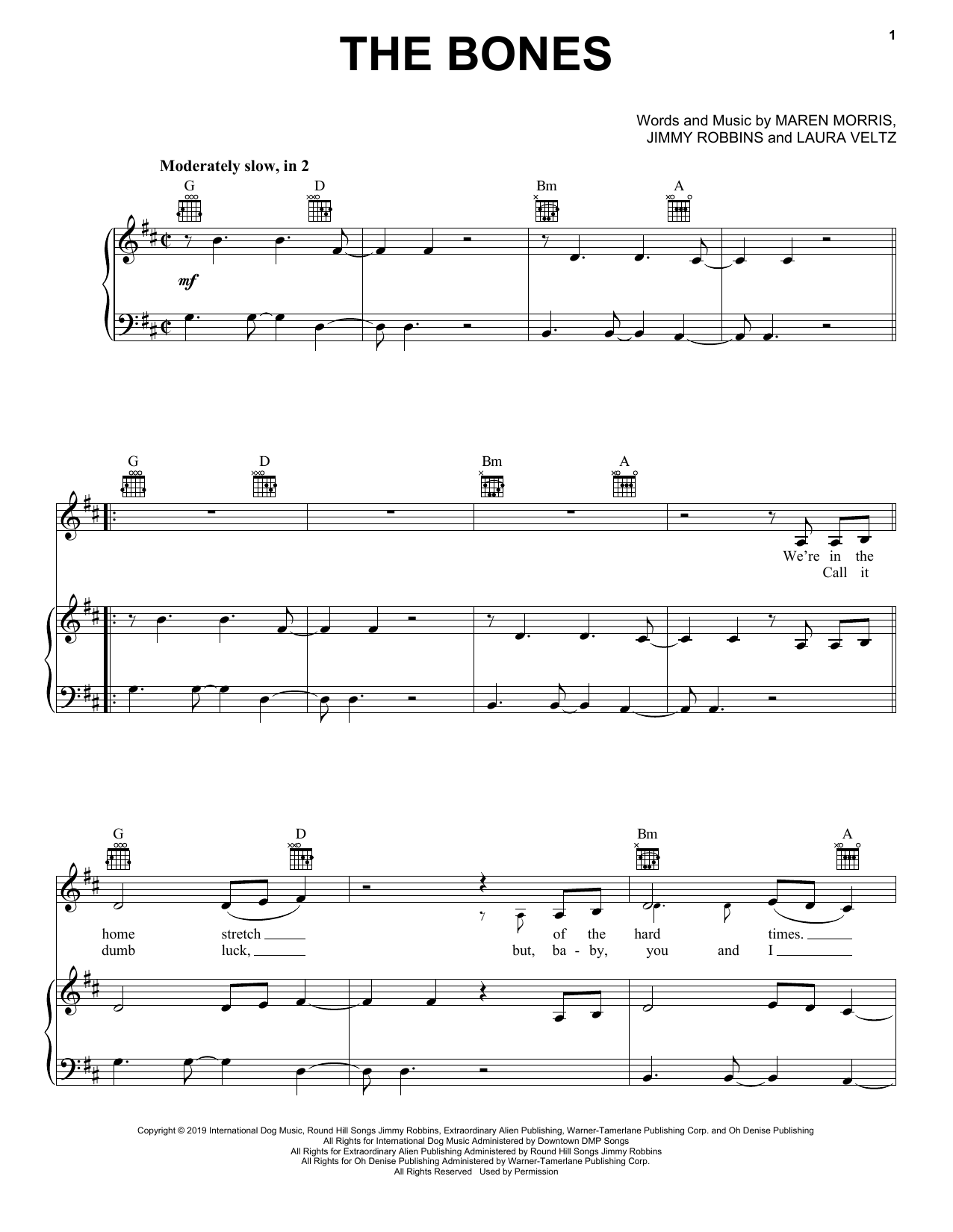 Maren Morris The Bones sheet music notes and chords
