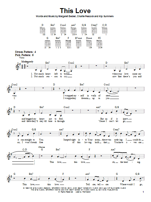 Margaret Becker This Love sheet music notes and chords. Download Printable PDF.