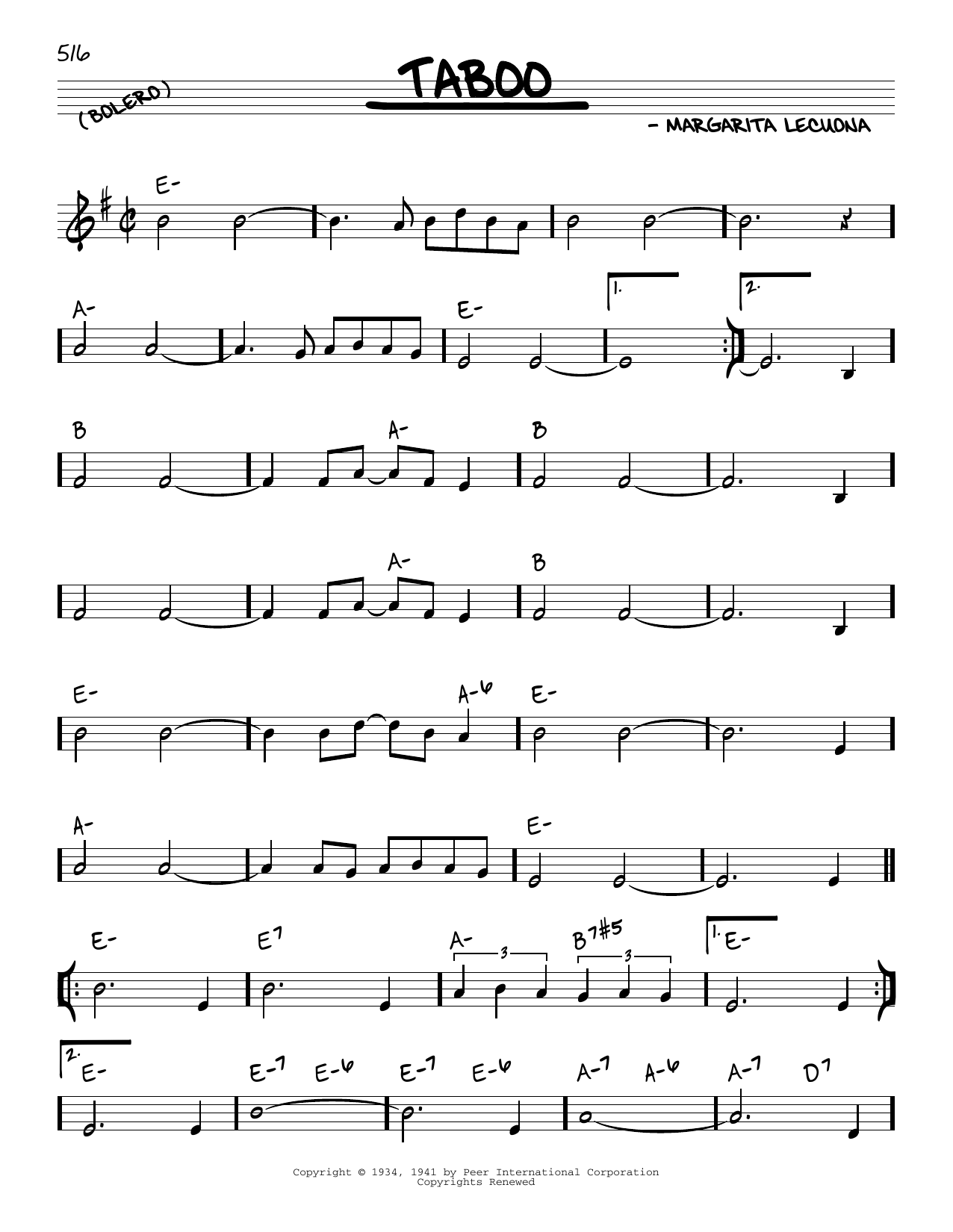 Margarita Lecuona Taboo sheet music notes and chords. Download Printable PDF.