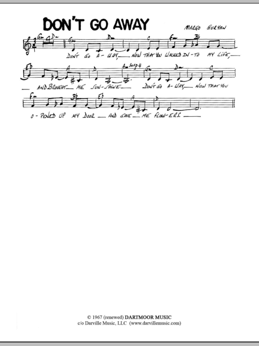 Margo Guryan Don't Go Away sheet music notes and chords