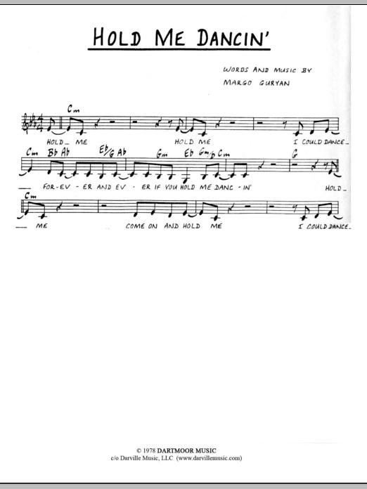 Margo Guryan Hold Me Dancin' sheet music notes and chords. Download Printable PDF.