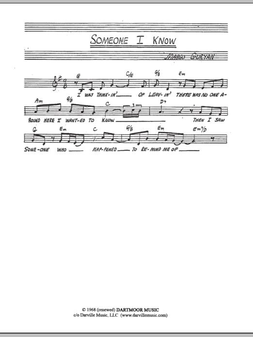 Margo Guryan Someone I Know sheet music notes and chords. Download Printable PDF.