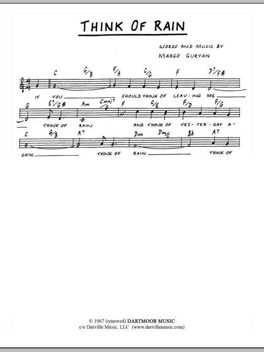 Margo Guryan Think Of Rain sheet music notes and chords