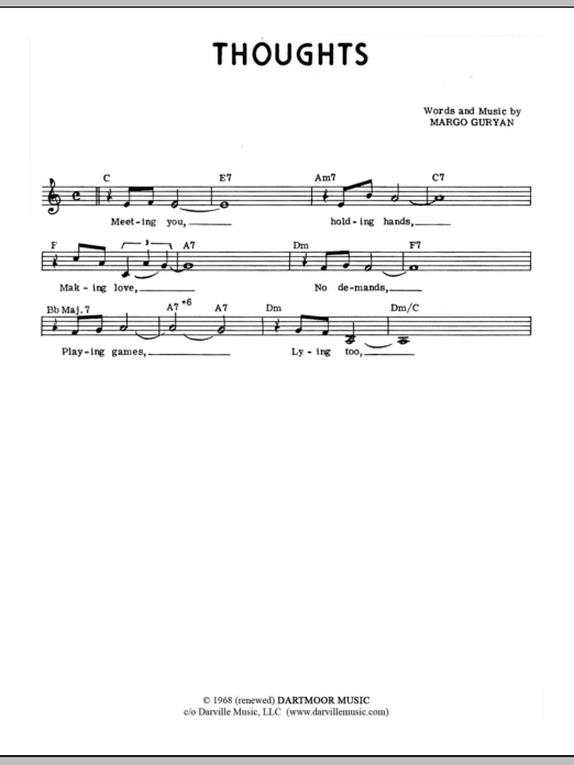 Margo Guryan Thoughts sheet music notes and chords. Download Printable PDF.