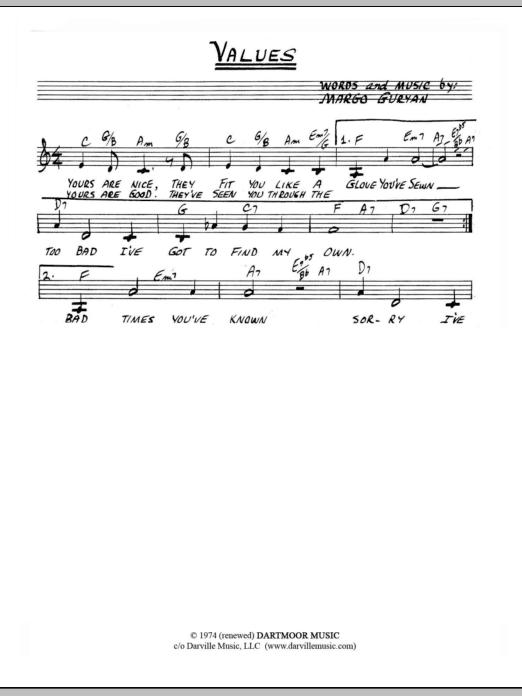 Margo Guryan Values sheet music notes and chords. Download Printable PDF.