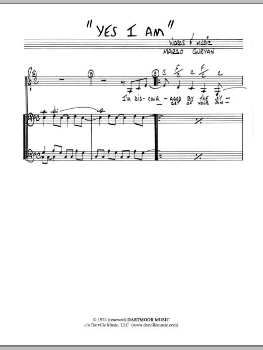 Margo Guryan Yes I Am sheet music notes and chords. Download Printable PDF.