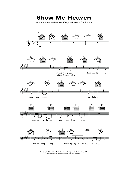 Maria McKee Show Me Heaven sheet music notes and chords. Download Printable PDF.