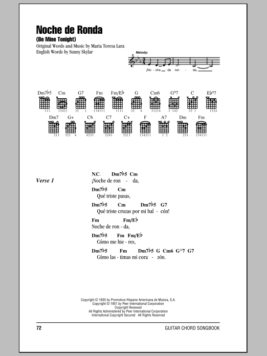 Maria Teresa Lara Noche De Ronda (Be Mine Tonight) sheet music notes and chords. Download Printable PDF.