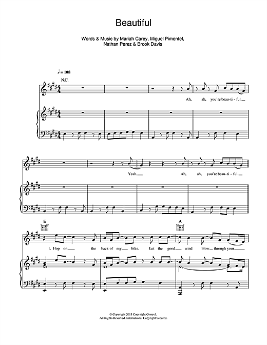 Mariah Carey Beautiful (feat. Miguel) sheet music notes and chords