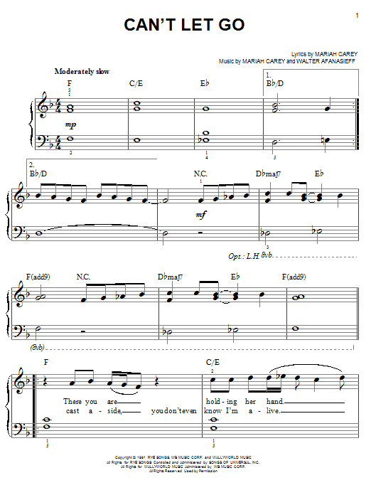 Mariah Carey Can't Let Go sheet music notes and chords. Download Printable PDF.