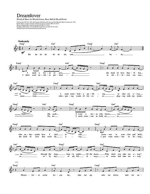 Mariah Carey Dreamlover sheet music notes and chords