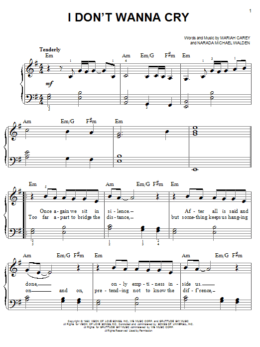 Mariah Carey I Don't Wanna Cry sheet music notes and chords. Download Printable PDF.