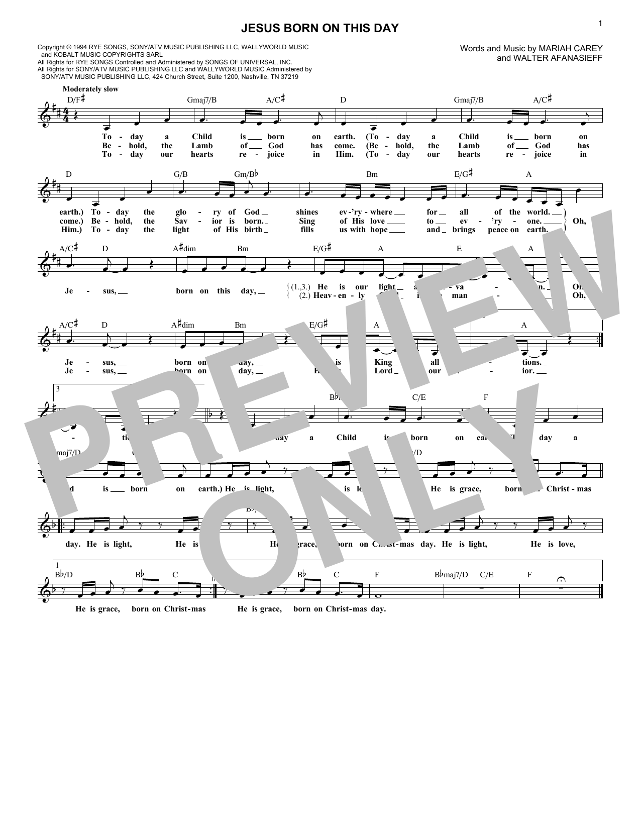 Mariah Carey Jesus Born On This Day sheet music notes and chords. Download Printable PDF.