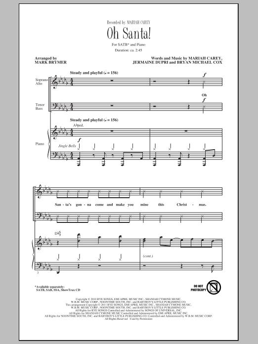 Mariah Carey Oh Santa! (arr. Mark Brymer) sheet music notes and chords. Download Printable PDF.