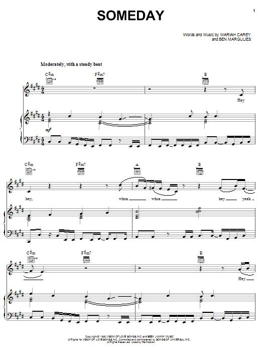 Mariah Carey Someday sheet music notes and chords. Download Printable PDF.
