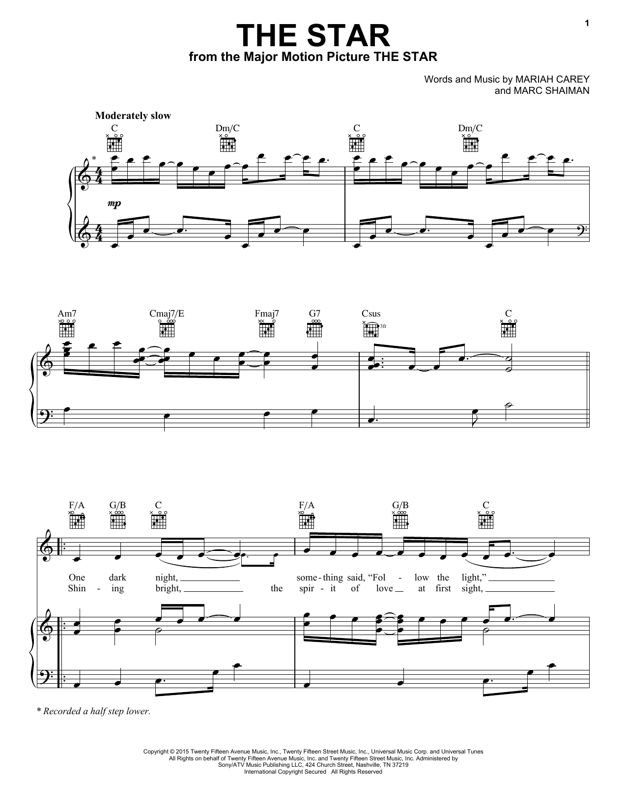 Mariah Carey The Star sheet music notes and chords